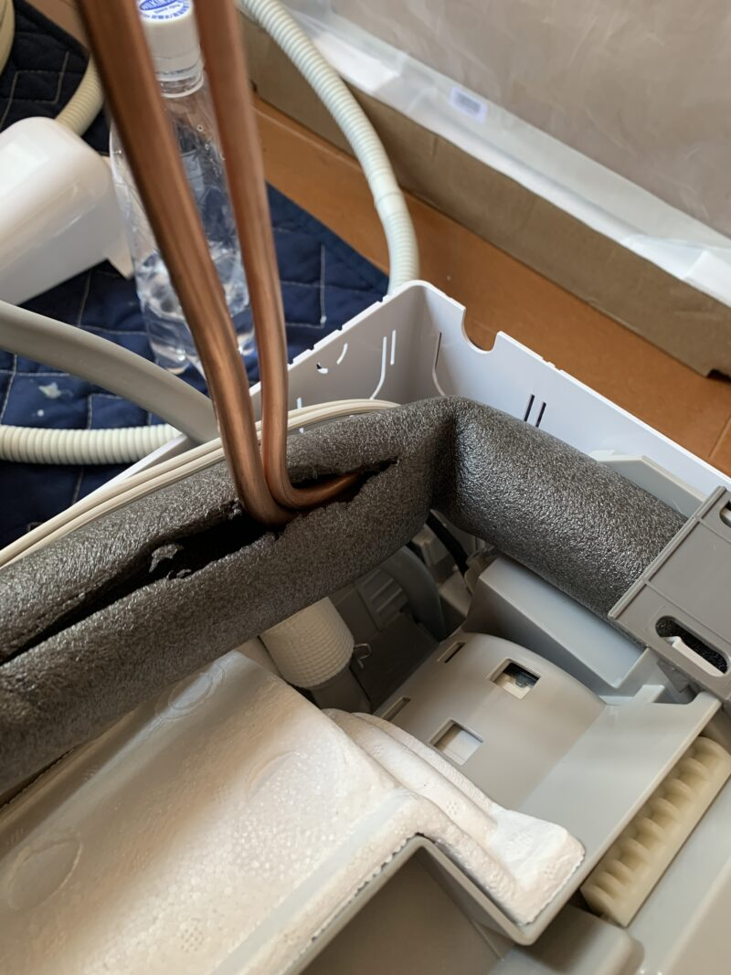 配管穴位置に合わせた配管加工